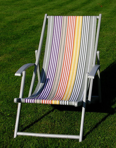 Vintage deckchair painted sage green covered in The Stripes Company Deckchair Fabric - Boules Stripe