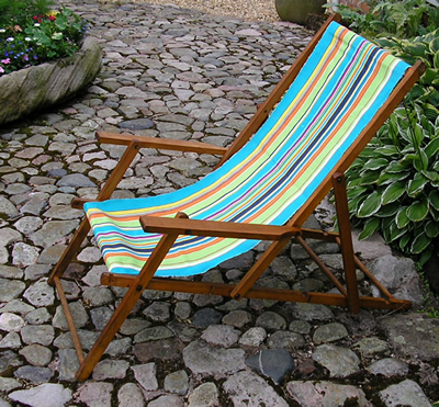 Vintage deckchair with arms covered in The Stripes Company Deckchair Fabric - Athletics Stripe