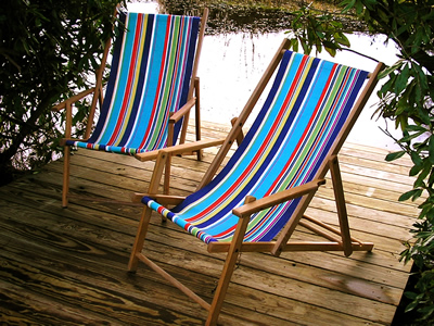 Vintage deckchair covered in The Stripes Company Deckchair Fabric - Yachting stripe