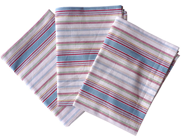 Blue Striped Tea Towel Sets | Set of 3 Teatowels Locker Room Stripes