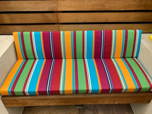 Striped bench cushions