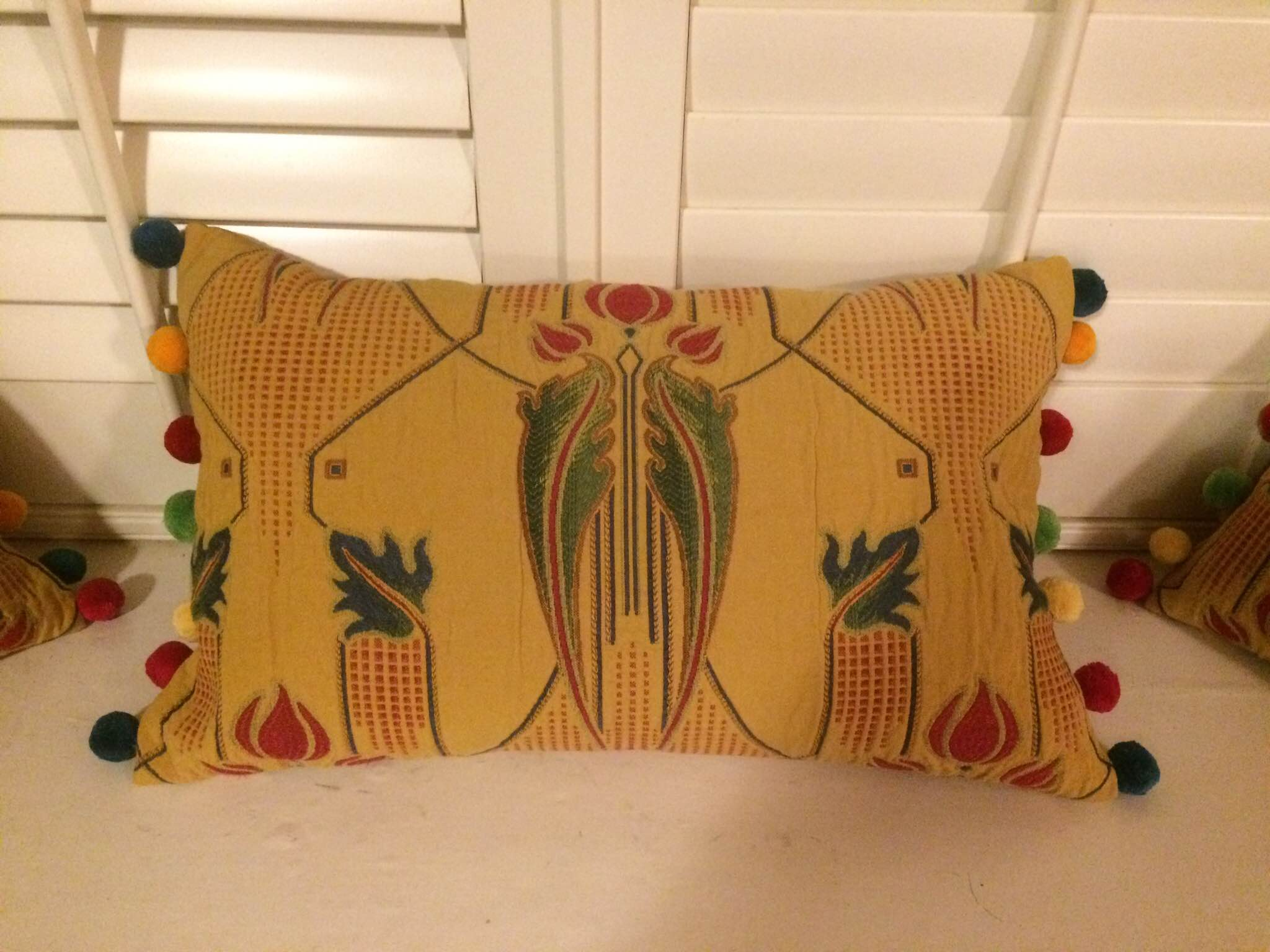 Funky Cushion with Multi Coloured Bobble Fringe