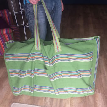 Extra large beach bag made from TSC deckchair canvas fabric and striped webbing