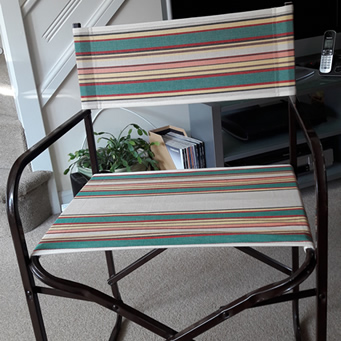 Metal Directors Chair recovered in The Stripes Company Fabric
