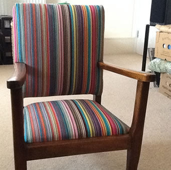 The stripes company striped fabrics stripe deckchair for Multi coloured fabric dining chairs