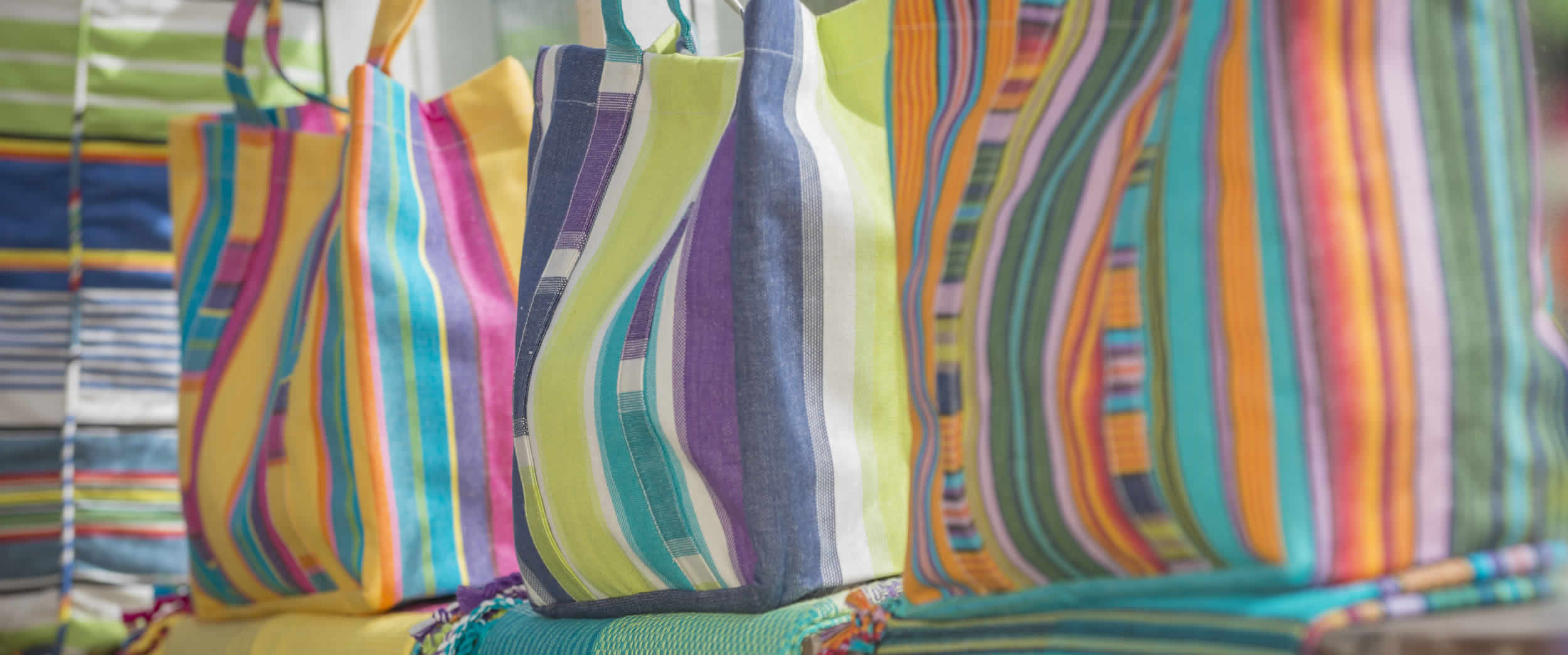 Small Yellow Striped Beach Bags