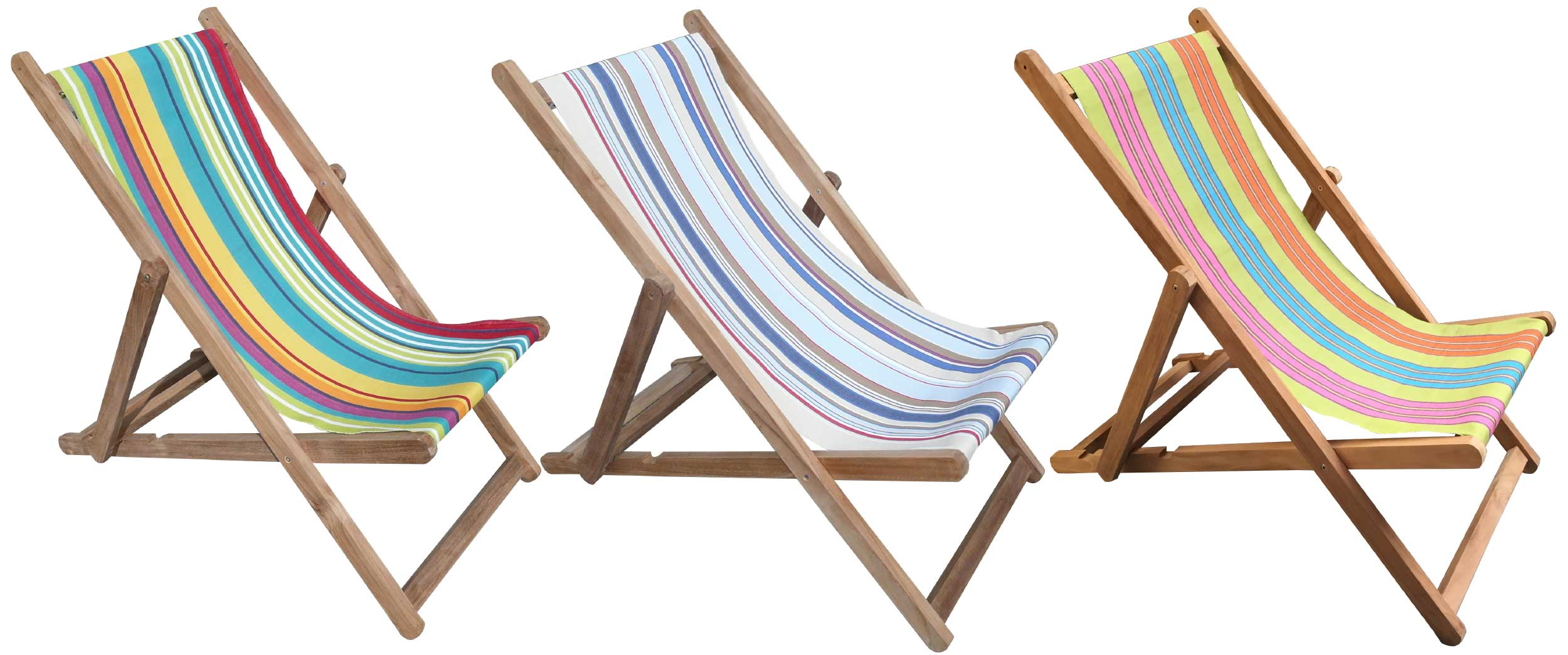 Garden Deckchairs | Wooden Deck Chairs with Striped Deckchair Sling - Yoga Stripe