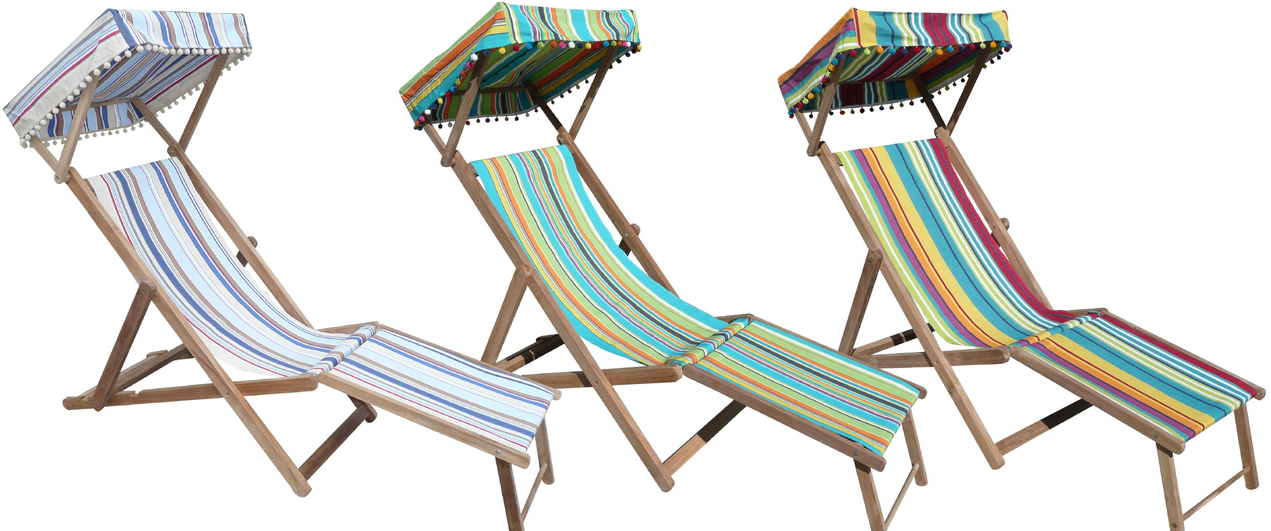 Edwardian Deckchairs with Canopy and Footstool - Deck Chairs Vintage Wooden Deckchairs Traditional Folding Deck