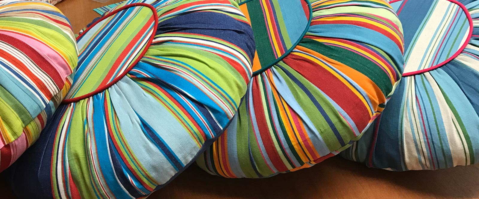 Multi Stripe Round Cushions