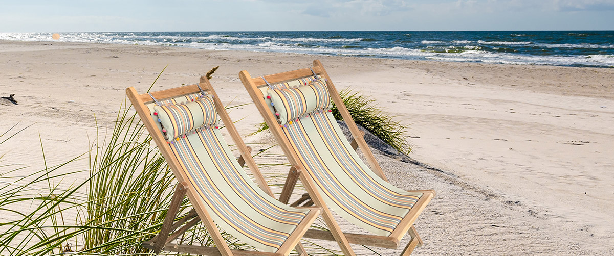Aerobics Pair of Premium Teak Deck Chairs | The Stripes Company Australia