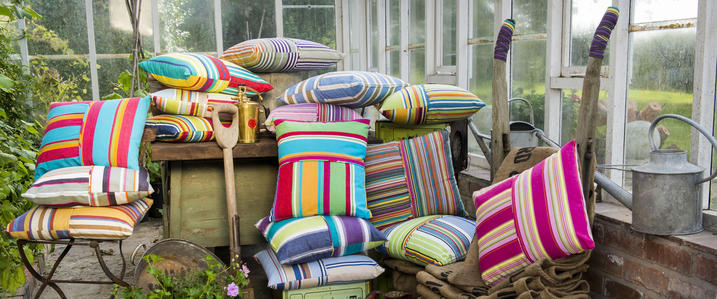 Striped Piped Cushions | Square Piped Cushions