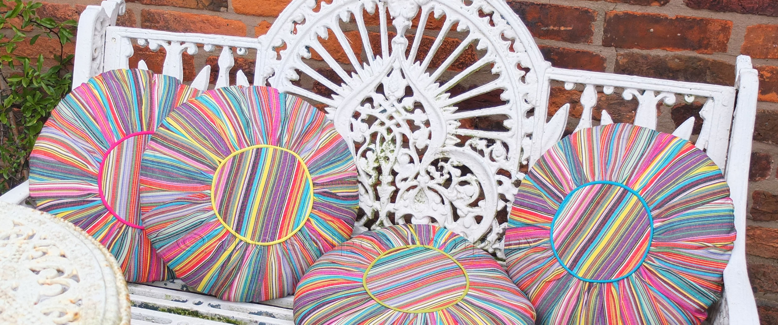 Striped Round Cushions | Round Gathered Cushion