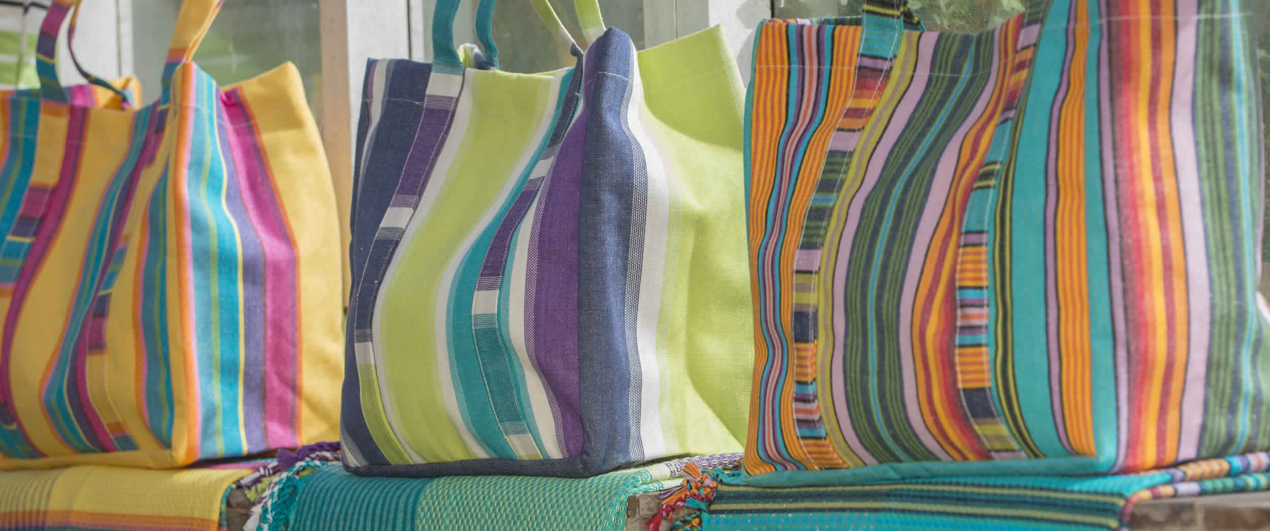 Striped Beach Tote Bags