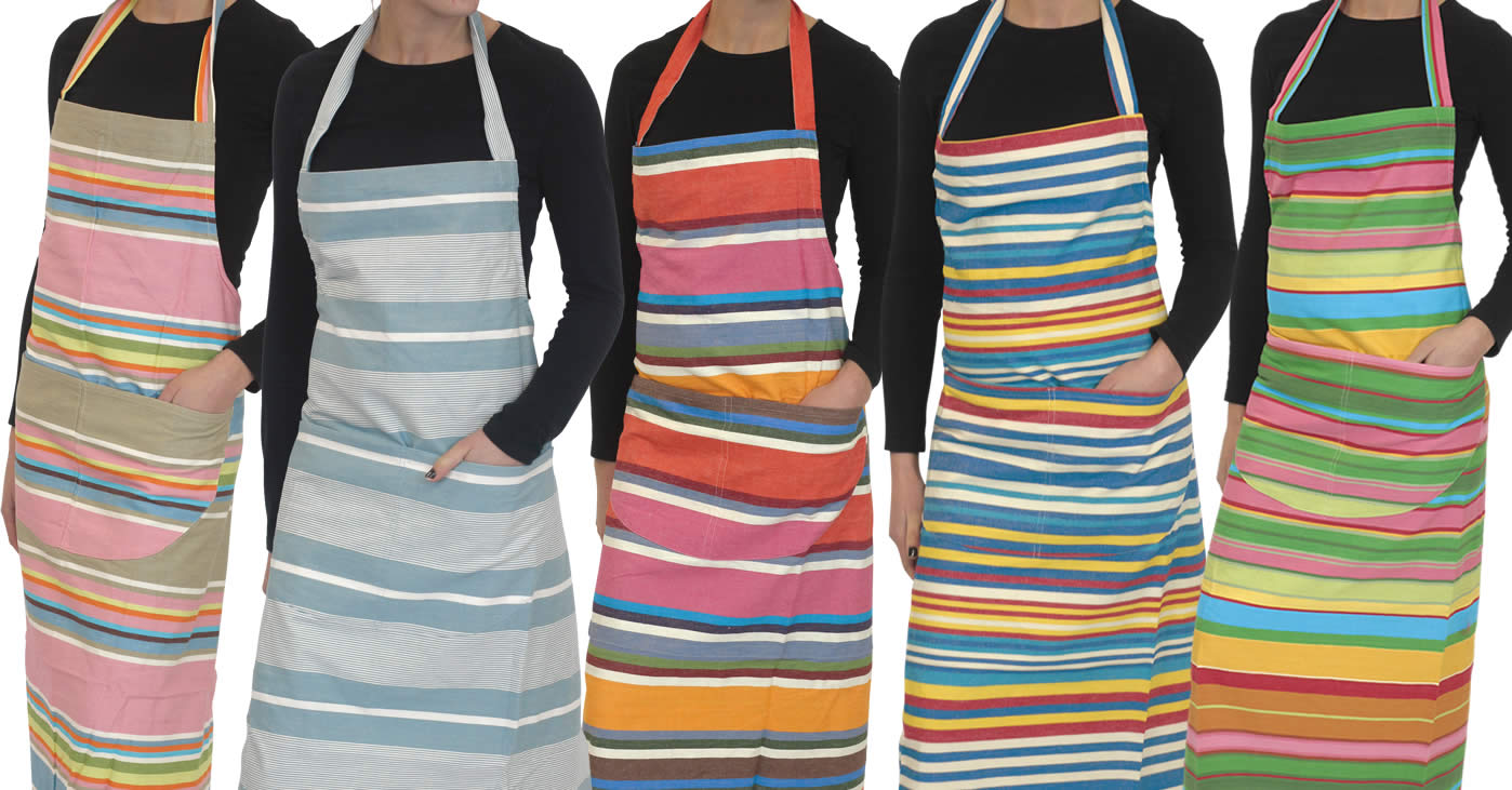 Blue Striped Aprons Blue  Pink  Turquoise  Stripes