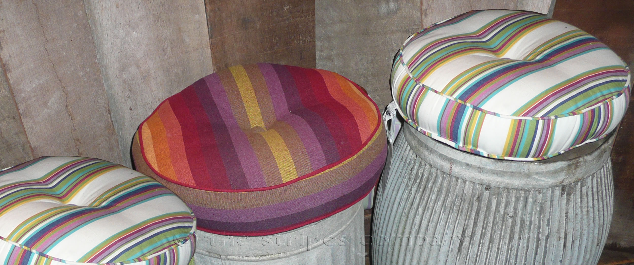 Round Striped Cushions | Piped Round Cushions