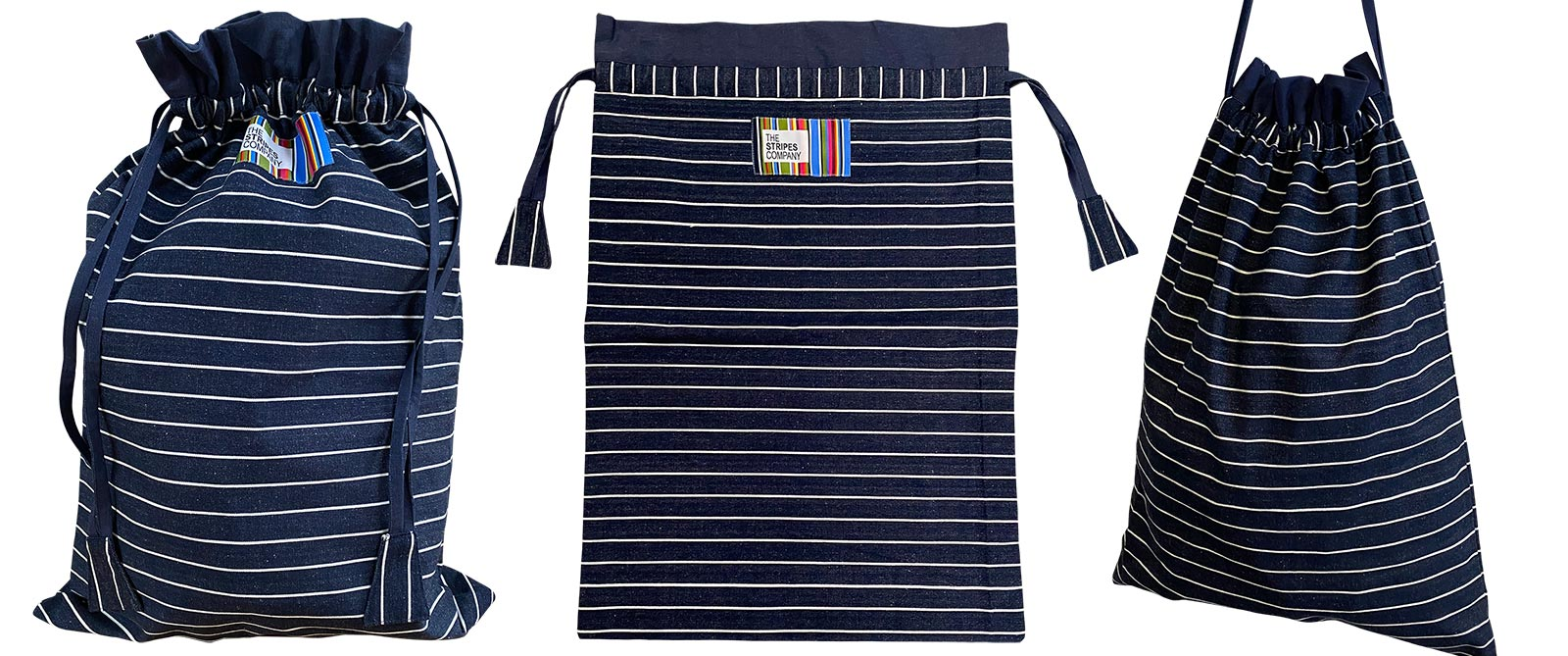 Large Striped Drawstring Bags | Laundry Bags | Kit Bags