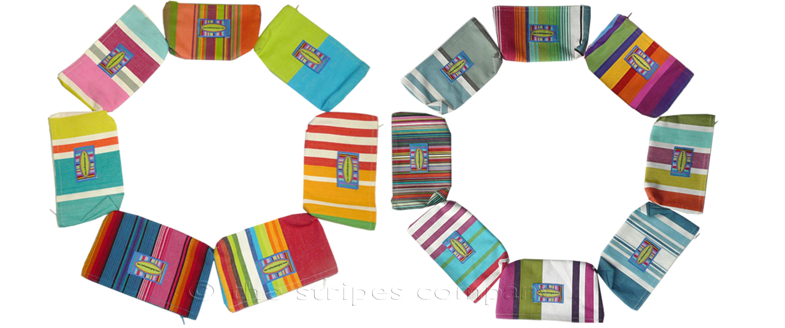 Striped Purses | Small Zipped Bags | Cosmetic Bags