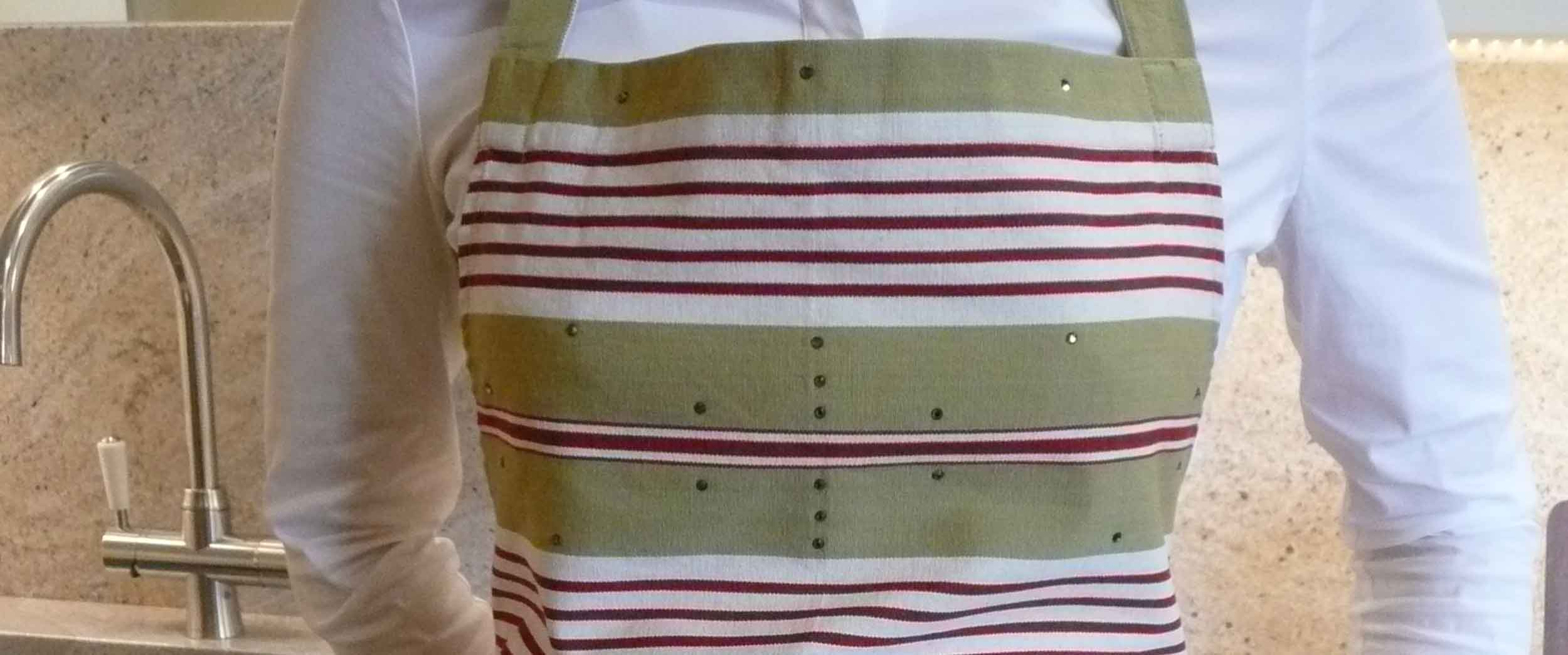 Swarovski Crystal embellished Aprons - Olive, red, white stripe