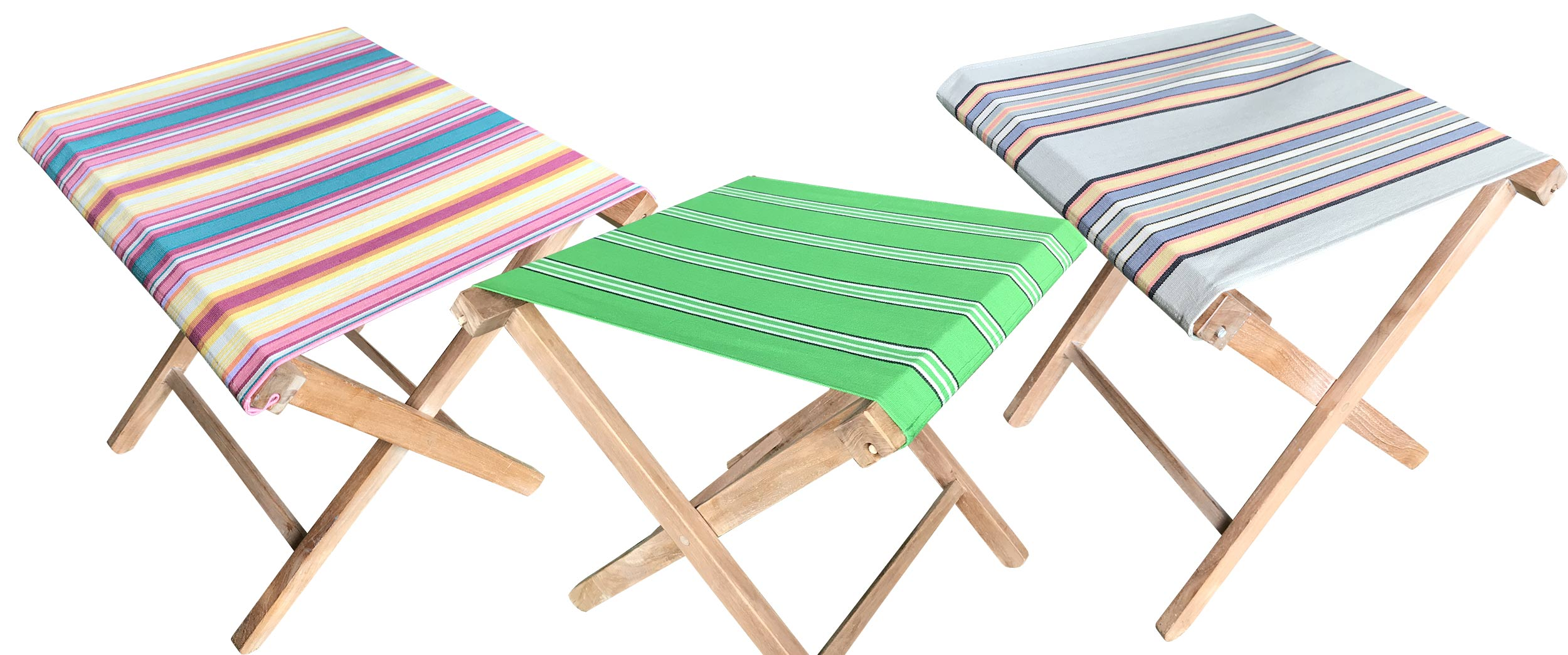 Portable Folding Stools with Striped Seats
