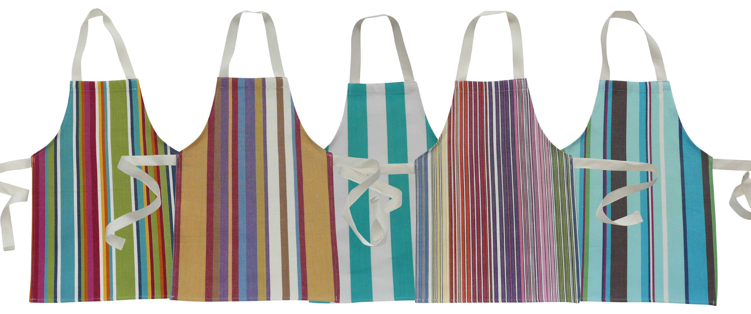 Assorted Pack Of 5 Toddlers Aprons - Striped Aprons For Small Children Assorted Pack Of 5 Stripes
