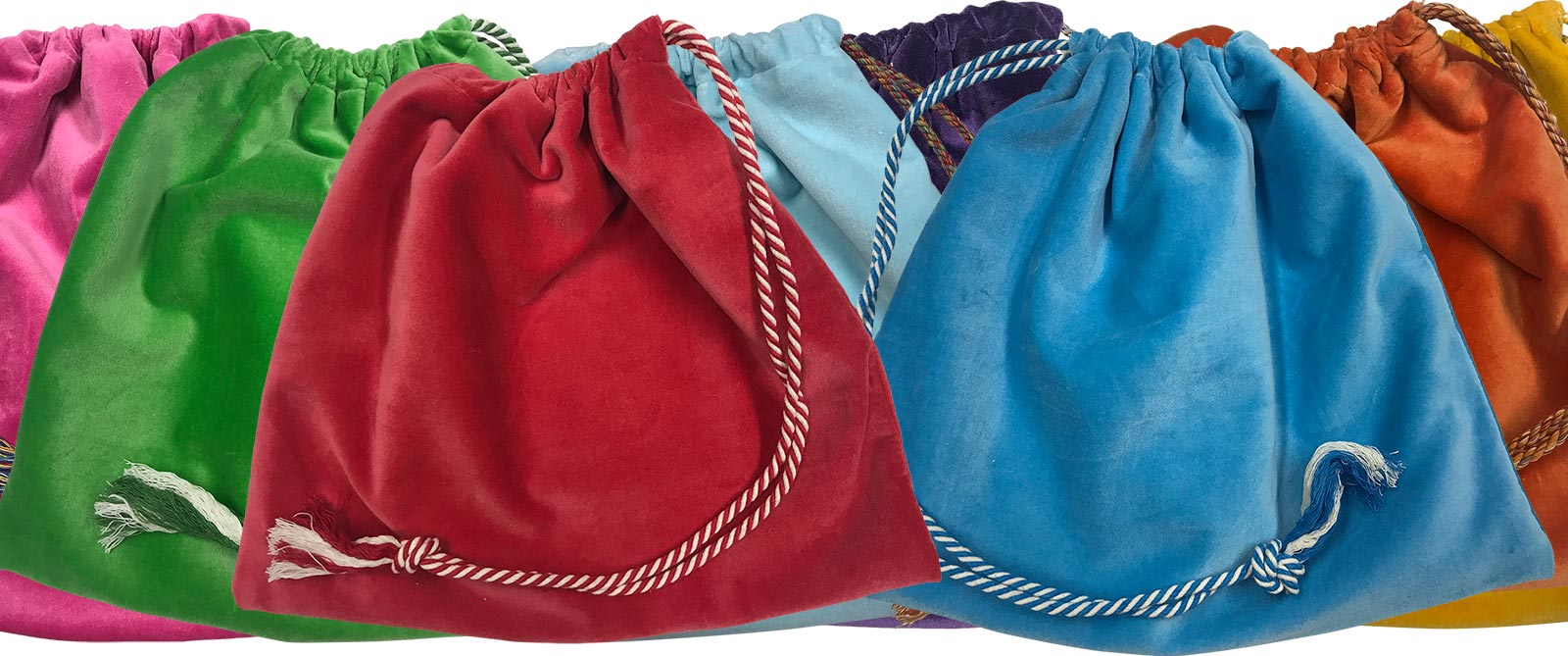 Aqua Velvet Handbag Pouches with Drawstring