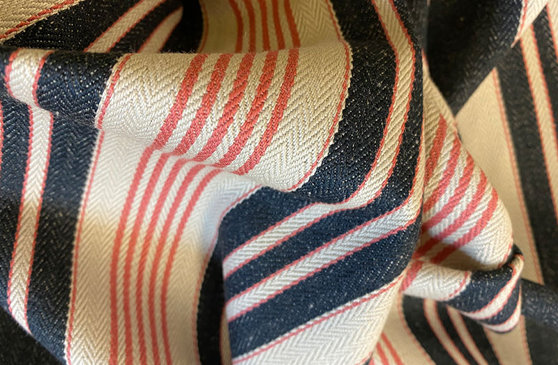 Black, Beige and Salmon Pink Stripe Ticking Fabric