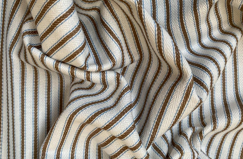 Off White, Brown and Aqua Stripe Ticking Fabric