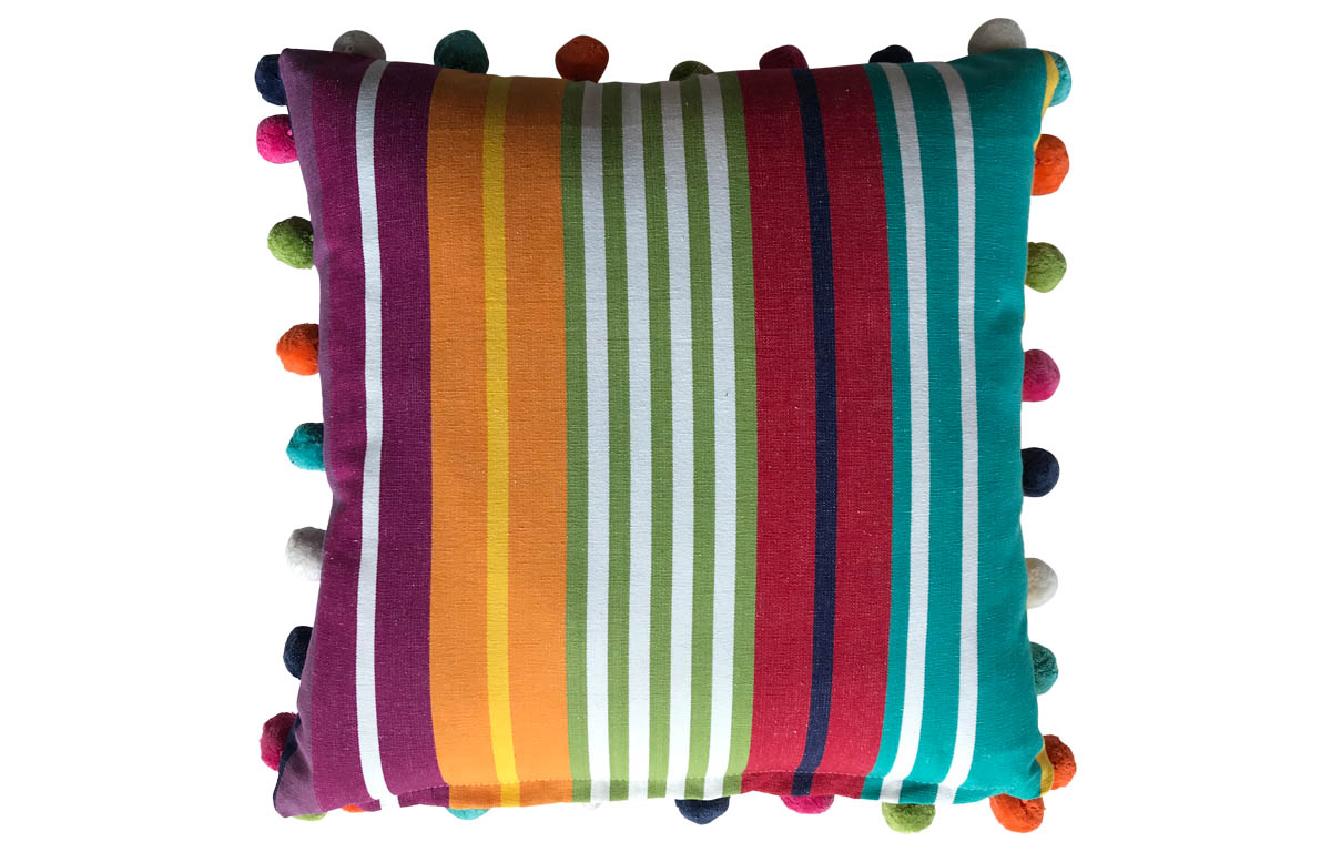 50x50cm Striped Pompom Cushions turquoise, green, red stripes
