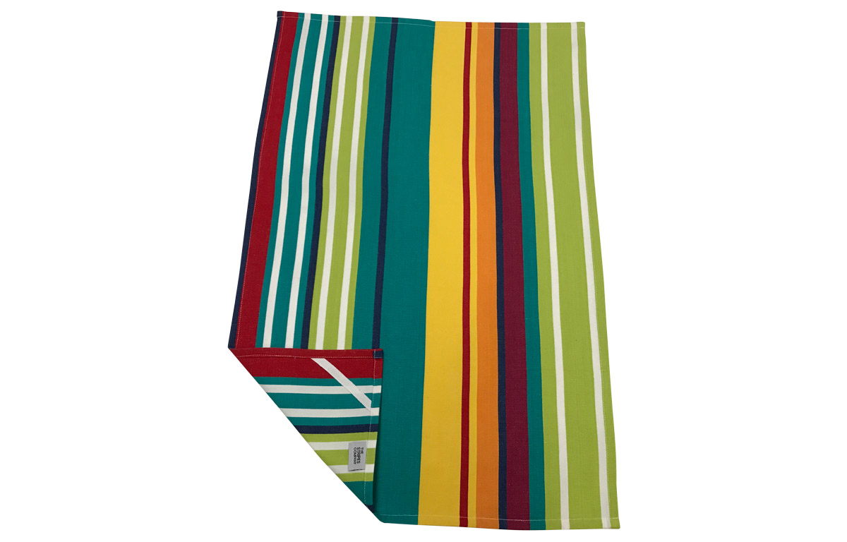 Striped Tea Towels Turquoise Green Red Yellow Stripes