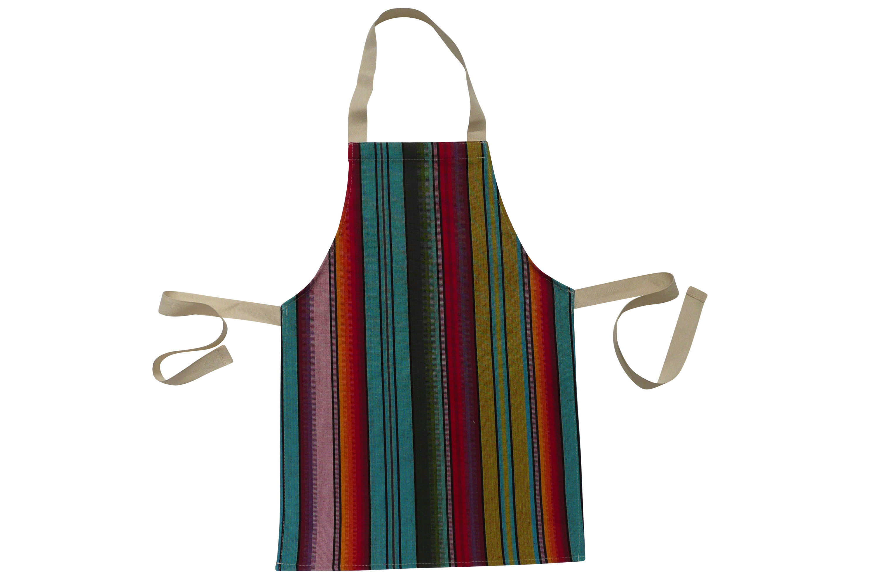 Blue Toddlers Aprons - Striped Aprons For Small Children Blue  Green  Orange  Stripes
