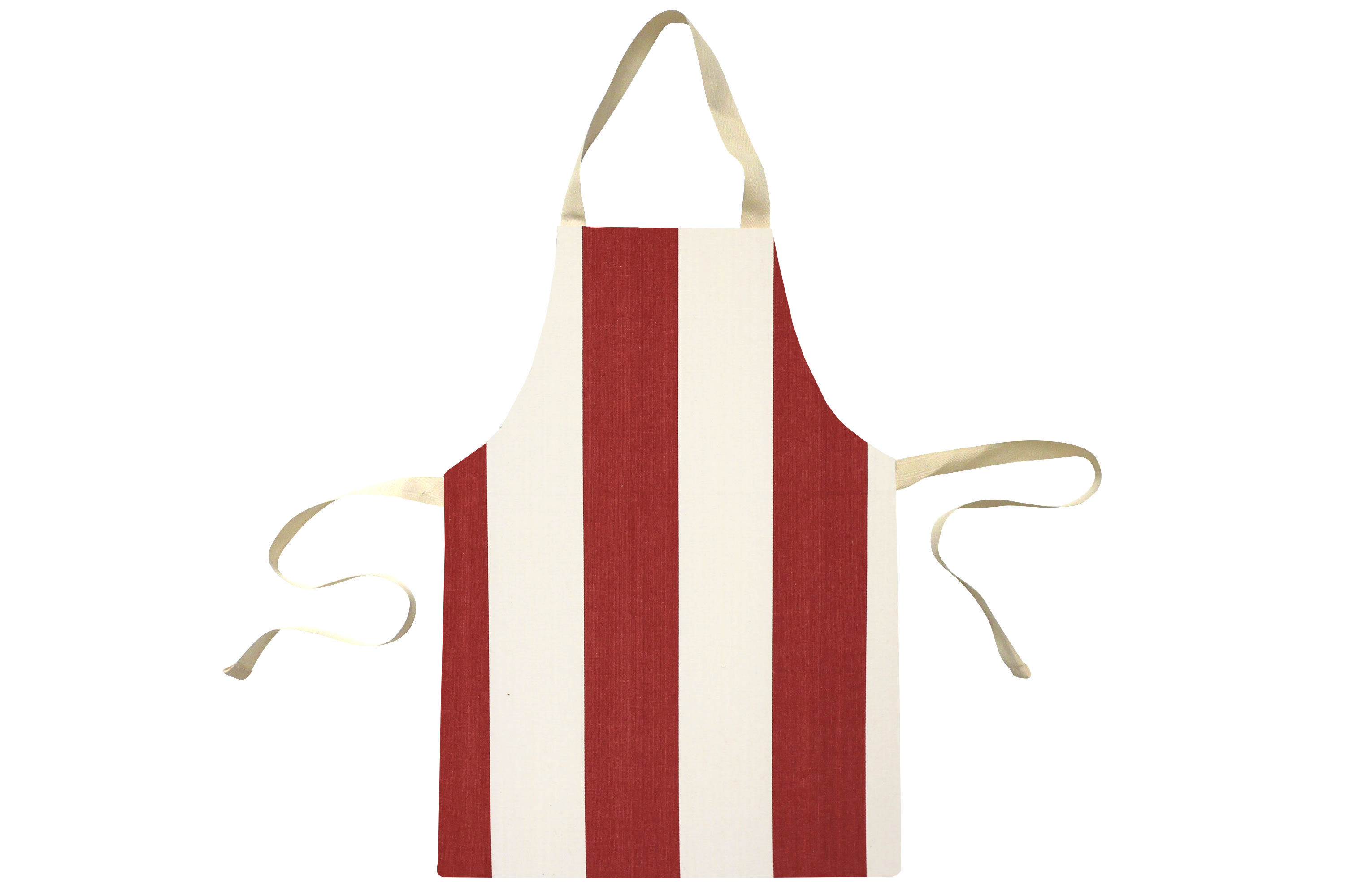 Red Water Resistant Aprons for Toddlers | Small Childs Striped Aprons Red  Ivory Stripes