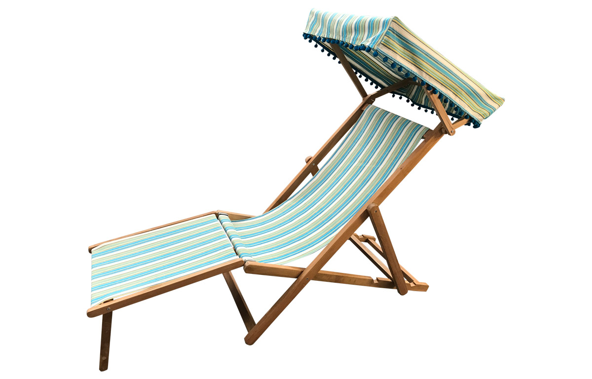 Turquoise, Green, White Stripe Canopied Edwardian Deckchair with Footstool