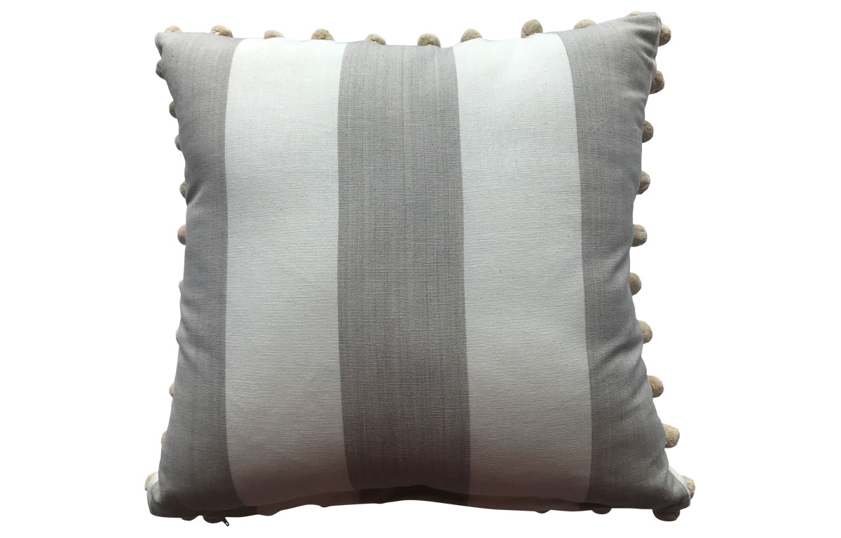 50x50cm Light Beige and Off White Striped Pompom Cushion