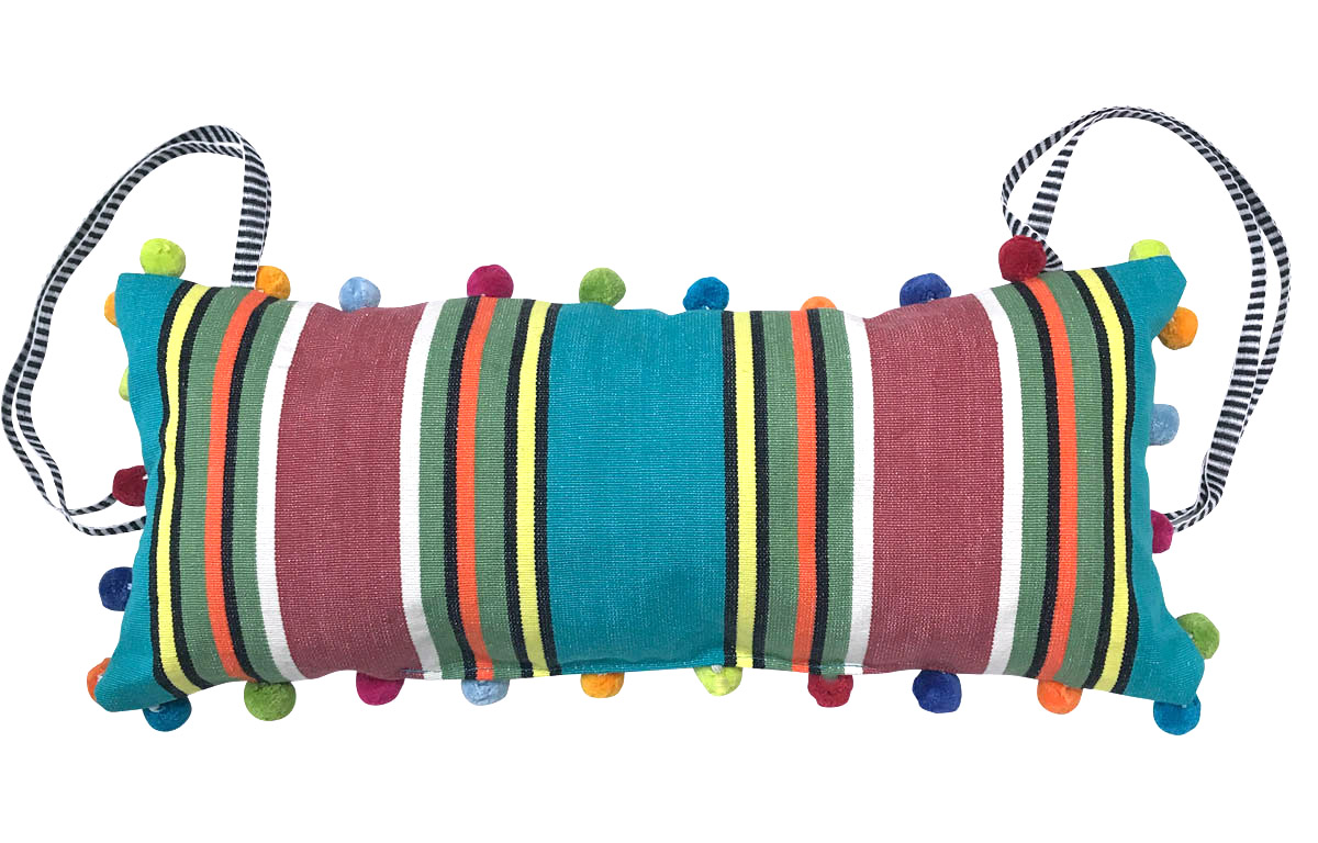 Vintage Tie on Headrest Cushions for Deck Chairs - Turquoise, Terracotta Stripes