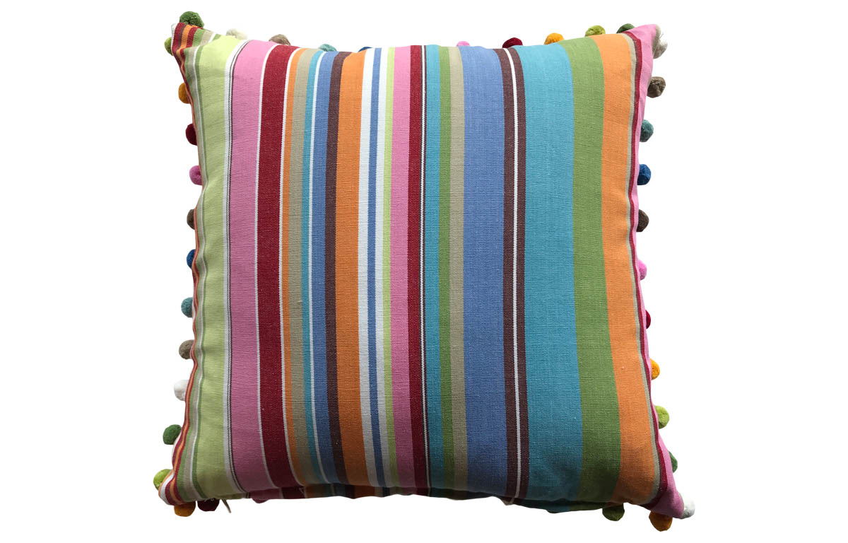 50x50cm Blue, Pink and Green Striped Pompom Trimmed Cushions