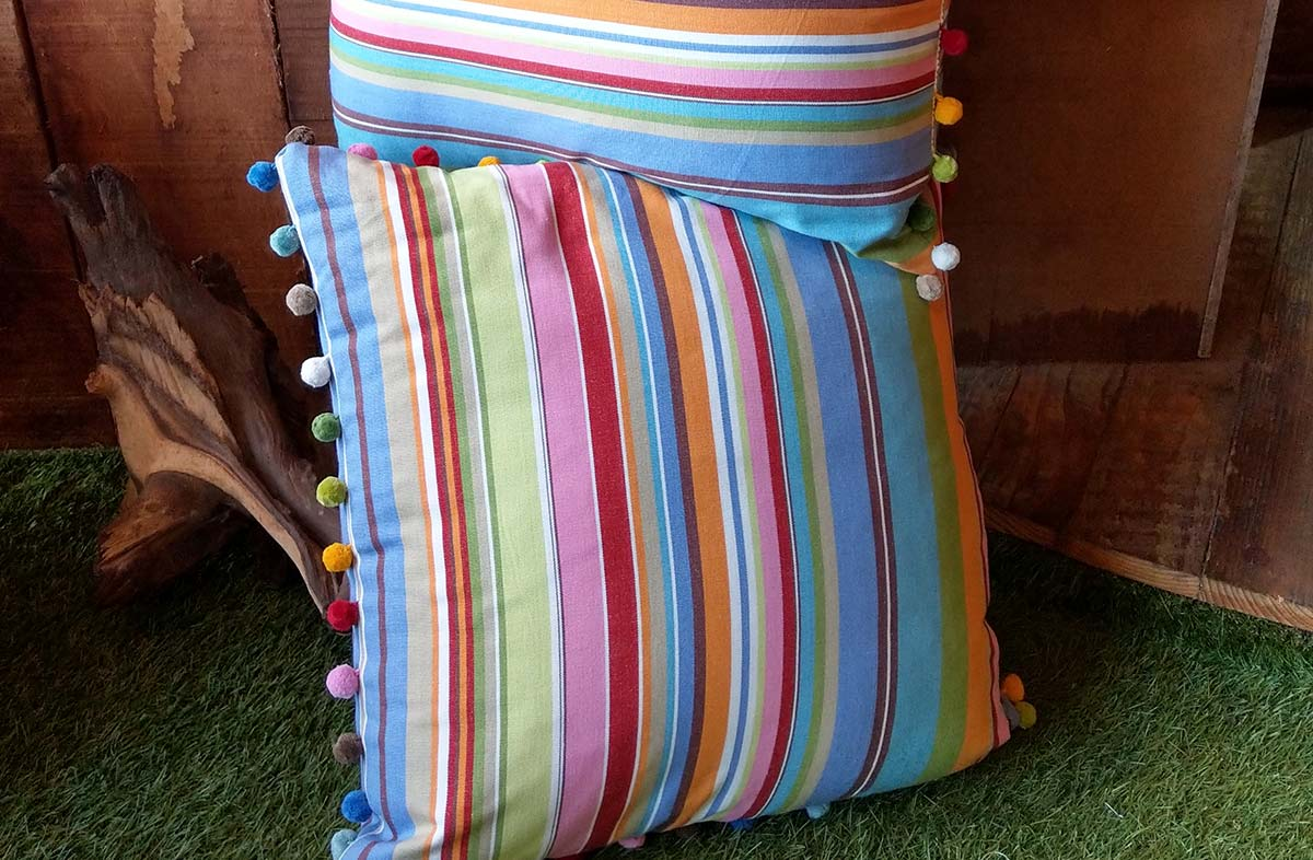 Blue, Pink and Turquoise Striped Pompom Cushion 50x50cm