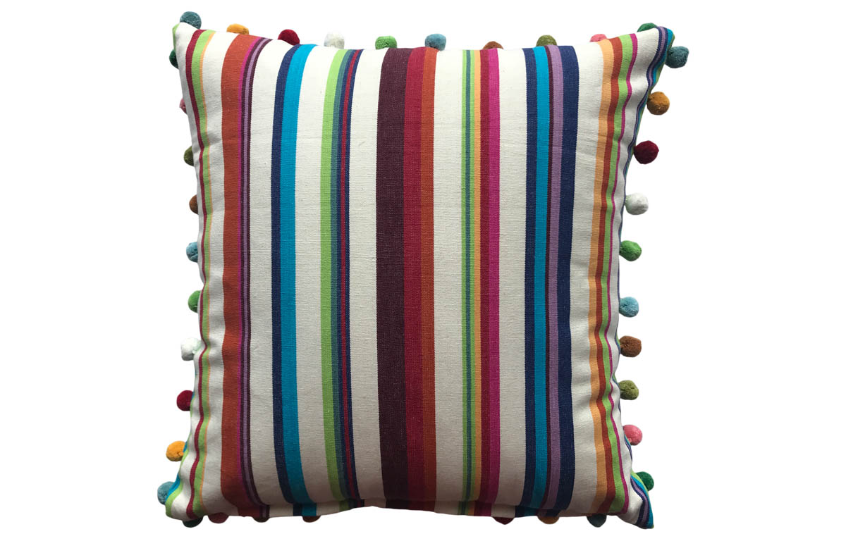 Cream Multi Stripe Pompom Cushion 50x50cm
