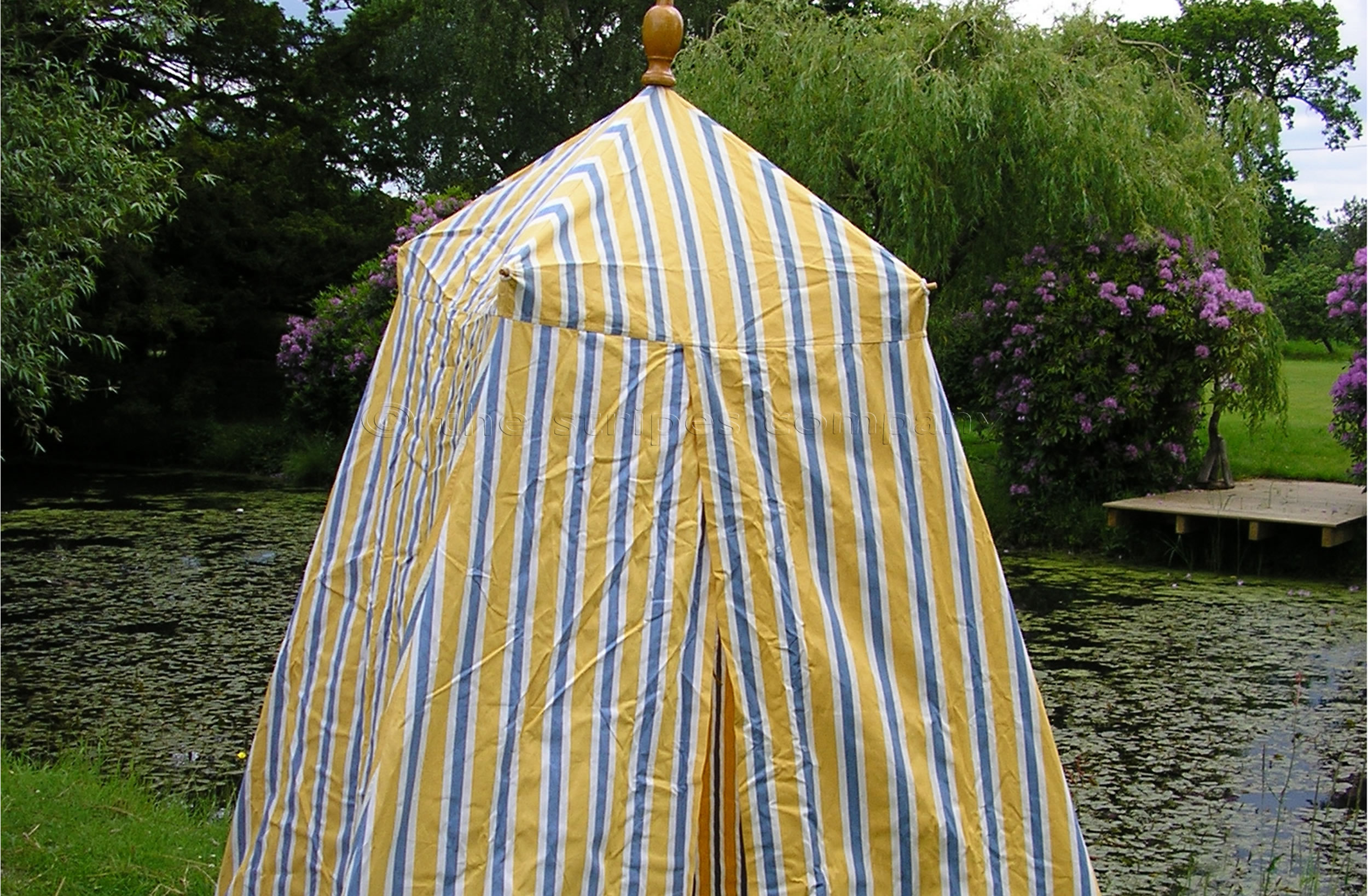 Yellow Striped Beach Tents | Empire Bathing Tents | Wrestling Stripe