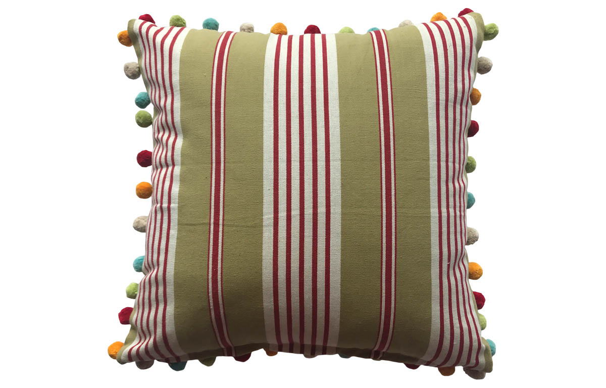 Olive Green and Red Striped Pompom Cushions 50x50cm