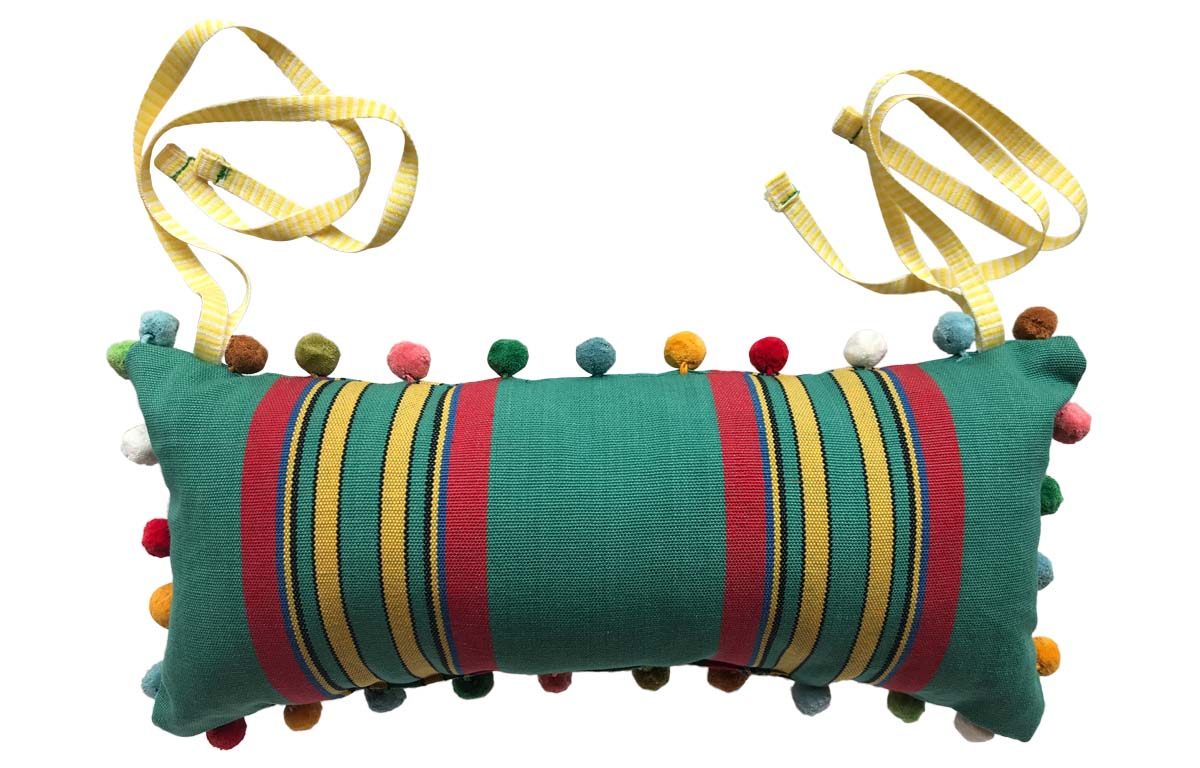 Birdwatching Deckchair Headrest Cushions | Tie on Pompom Headrest Pillow Jade green, red, yellow