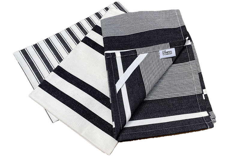Set of 3 Black and White Striped Tea Towels