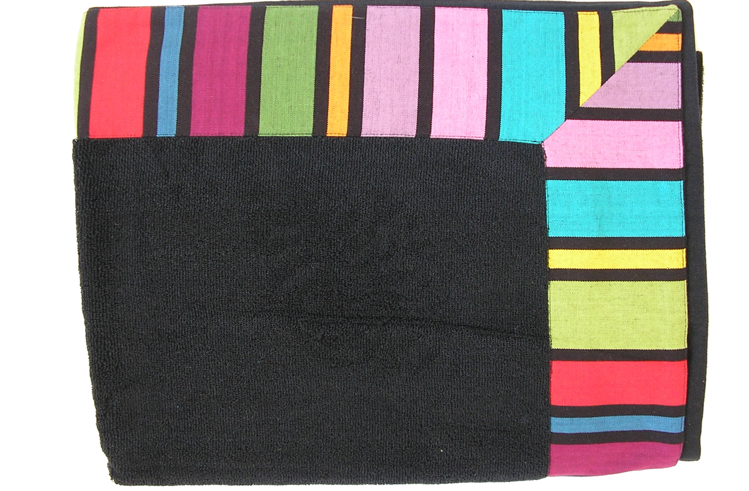 Extra Large Black Beach Towels with Striped Border