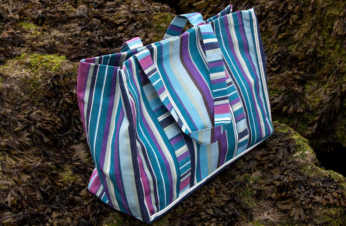 Extra Large Beach Bag in blue and purple stripes