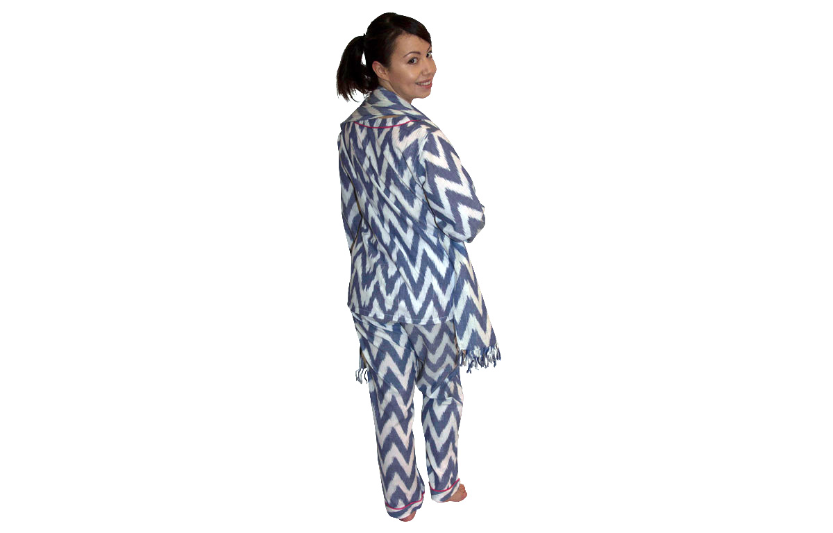 Blue Three Piece Lounging Pyjama Set - Large