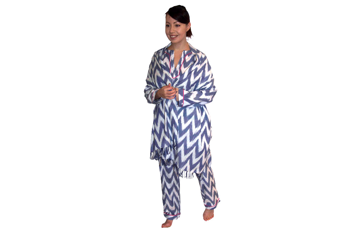 Blue and White Three Piece Lounging Pyjama Set - Medium