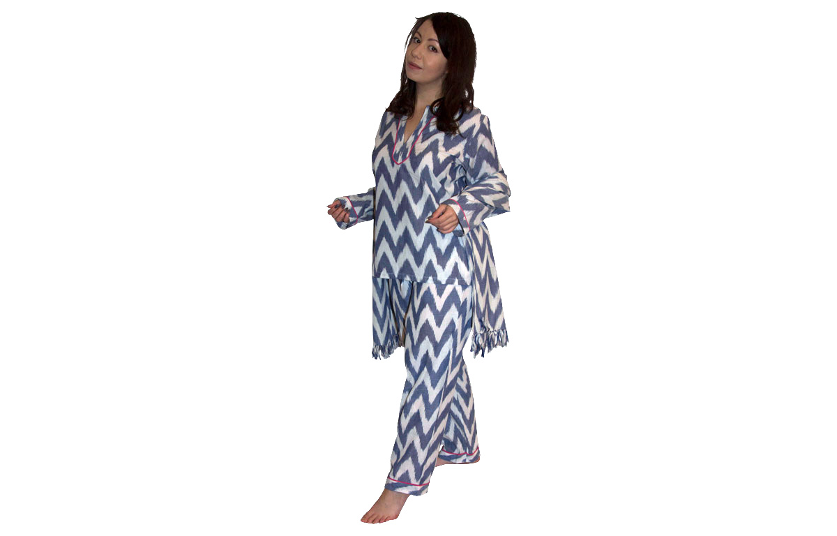 Three Piece Lounging Pyjama Set blue and white ikat design
