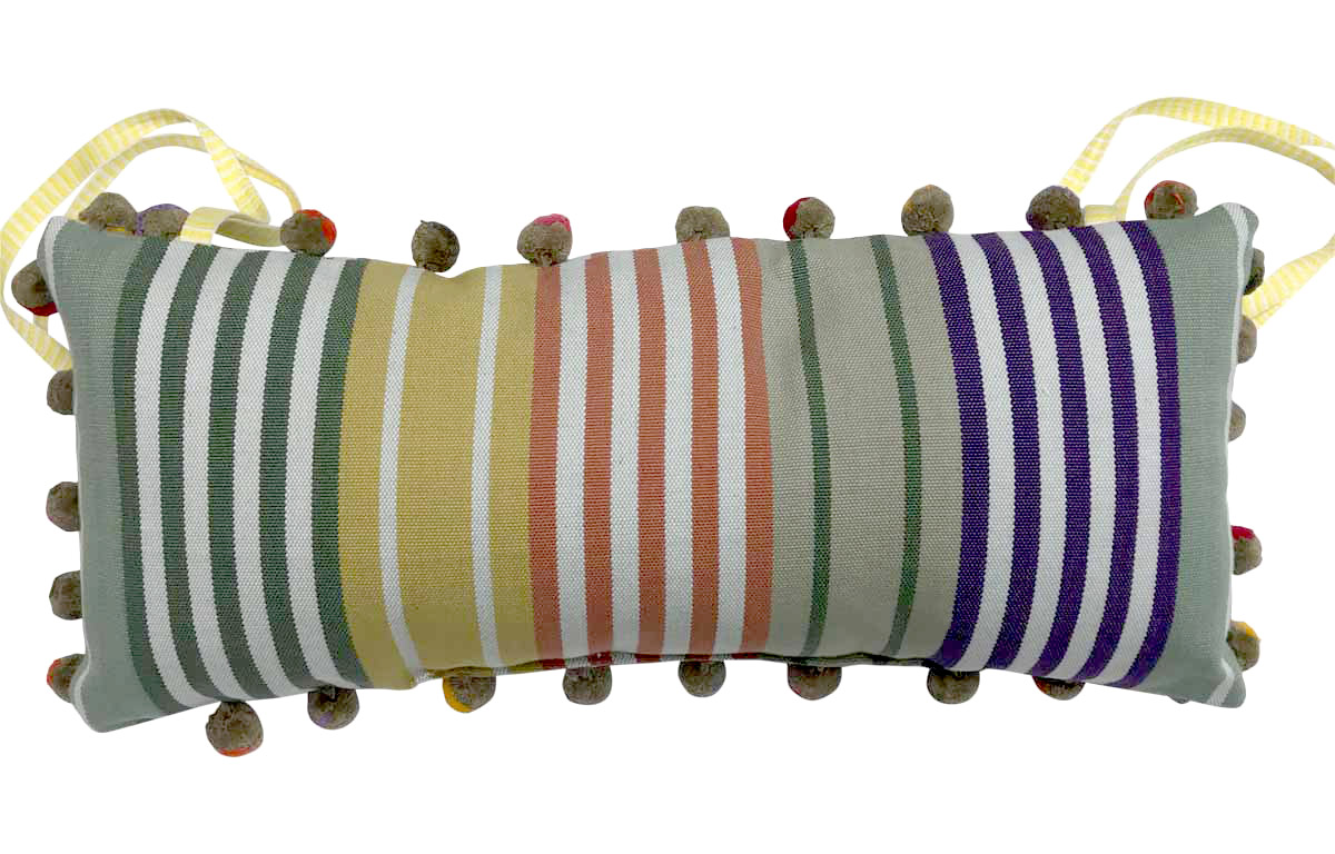 Sage Green Stripe Tie on Headrest Cushions for Deck Chairs