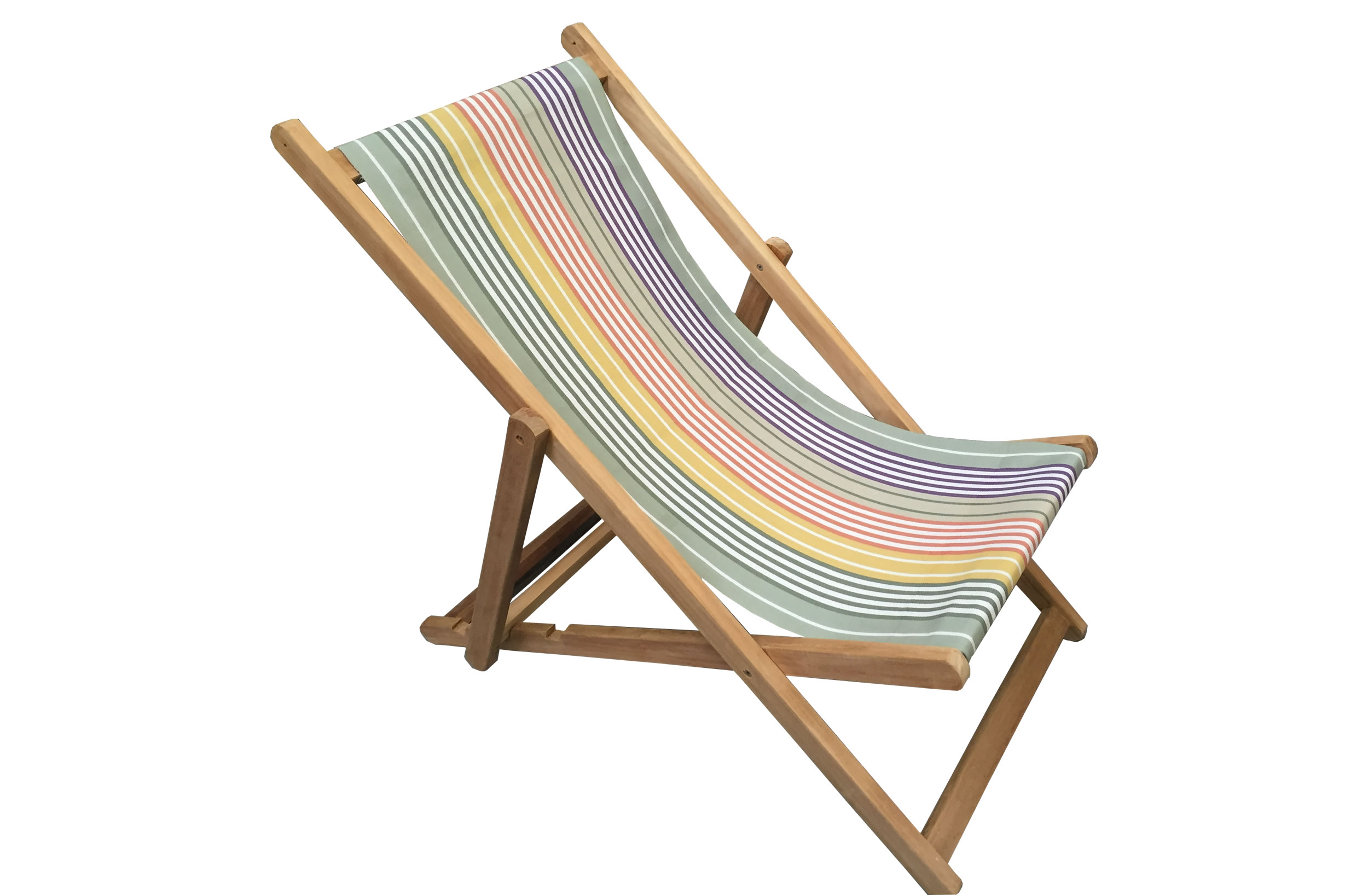 Sage Green Deckchairs | Wooden Folding Deck Chairs Boules Stripe