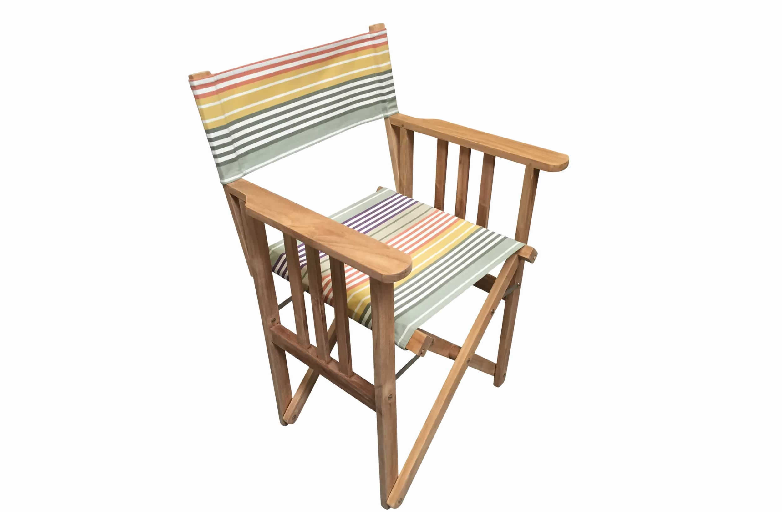 Amazing Teak Directors Chair   Boules Stripe