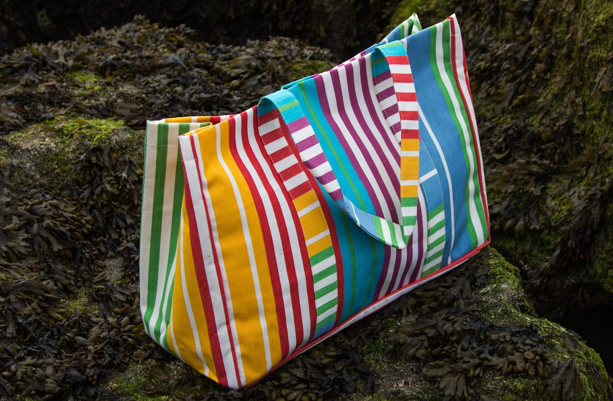 Extra Large Beach Bag -  yellow, tangerine, white, green and blue stripes